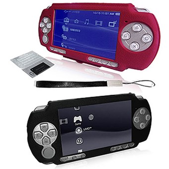 Rubberized Protective Case for PSP2000 (Red/Black) (BH-PSP02628)