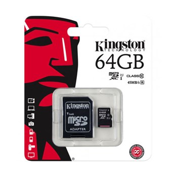 Карта памяти Kingston micro SDHC 64GB class 10 (с адаптером)
